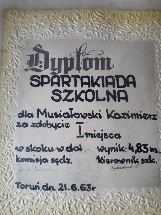 Dyplom za zajęcie I miejsca na Spartakiadzie Szkolnej - 21.06.1963r.