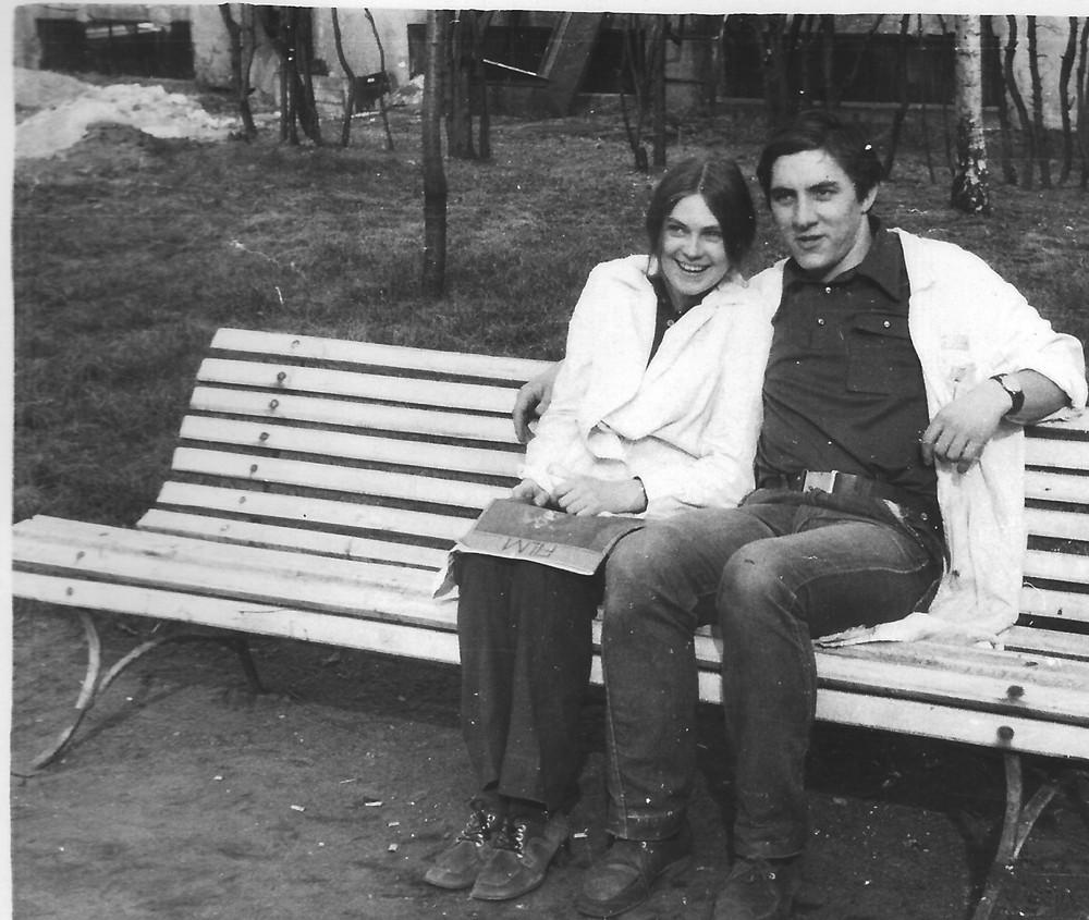 Z przyszłą żona Ewą, żona była kierownikiem magazynu ja produkcji